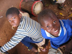 Students learning traditional Malian percussion